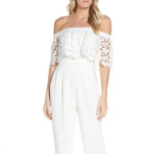 Eliza J Popover lace off the shoulder Jumpsuit NWT